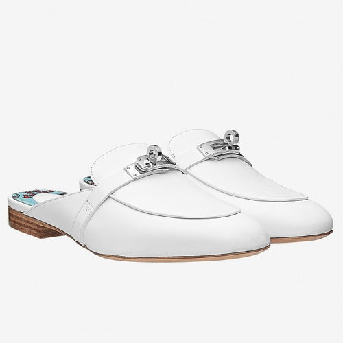 Hermes Oz Mule In White Calfskin Leather