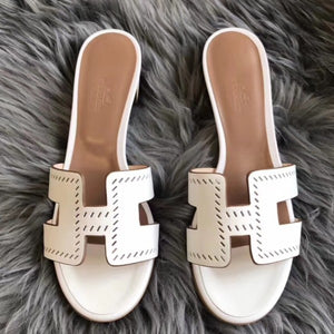 Hermes White Epsom Oasis Perforated Sandals