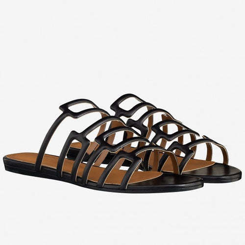 Hermes Olympe Sandals In Black Nappa Leather