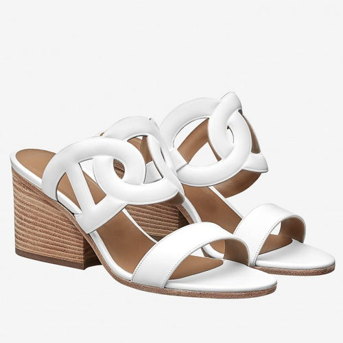 Hermes White Peace Sandals