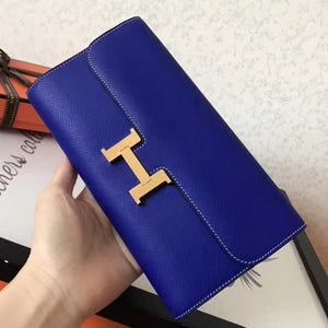 Hermes Blue Electric Epsom Constance Long Wallet 2 Hardware Color
