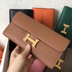 Hermes Brown Epsom Constance Long Wallet 2 Hardware Color