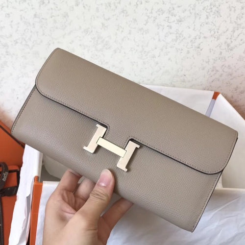 Hermes Grey Epsom Constance Long Wallet 2 Hardware Color