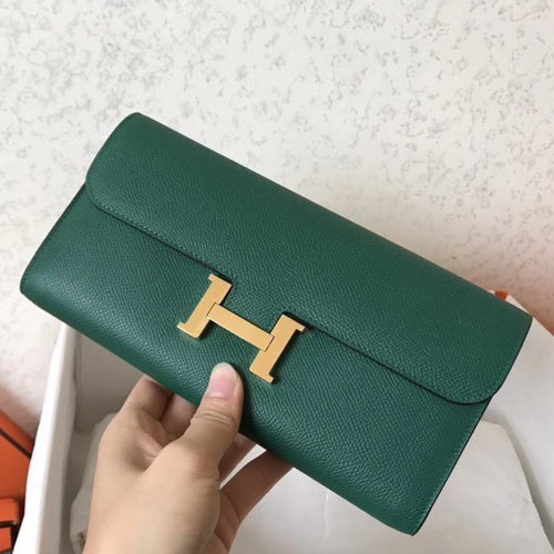 Hermes Malachite Epsom Constance Long Wallet 2 Hardware Color