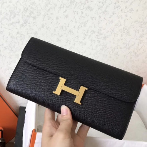 Hermes Black Epsom Constance Long Wallet 2 Hardware Color
