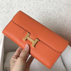 Hermes Orange Epsom Constance Long Wallet 2 Hardware Color