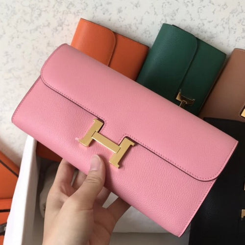 Hermes Pink Epsom Constance Long Wallet 2 Hardware Color