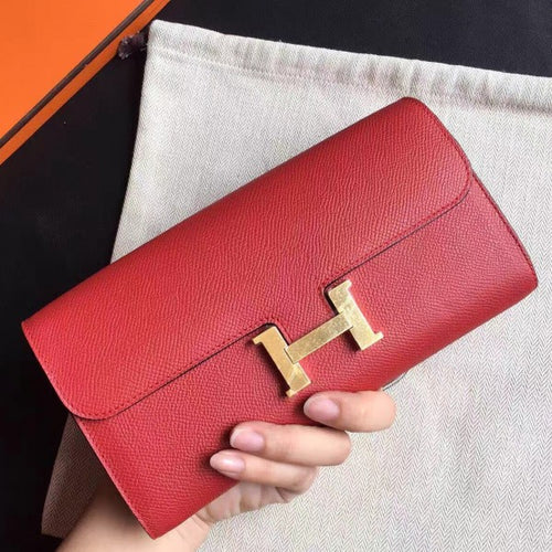 Hermes Red Epsom Constance Long Wallet 2 Hardware Color