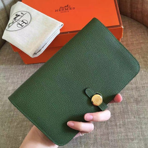 Hermes Dark Green Dogon Duo Combined Wallet 2 Hardware Color