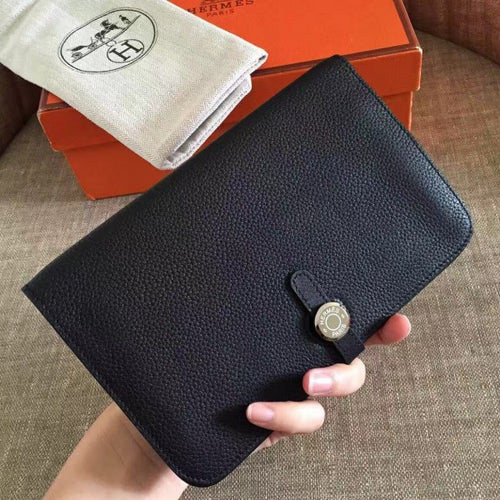 Hermes Black Dogon Duo Combined Wallet 2 Hardware Color