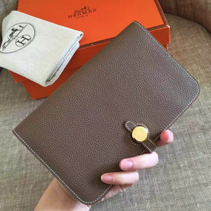 Hermes Taupe Grey Dogon Duo Combined Wallet 2 Hardware Color