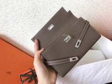 Hermes Kelly Classic Long Wallet In Brown-Beige Leather