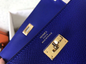 Hermes Kelly Classic Long Wallet In Blue Electric Epsom Leather 2 Hardware Color