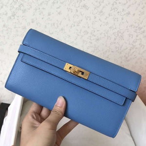 Hermes Kelly Classic Long Wallet In Blue Jean Epsom Leather 2 Hardware Color