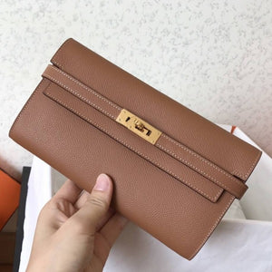 Hermes Kelly Classic Long Wallet In Brown Epsom Leather 2 Hardware Color