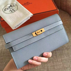 Hermes Kelly Classic Long Wallet In Ciel Epsom Leather 2 Hardware Color