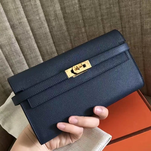 Hermes Kelly Classic Long Wallet In Navy Epsom Leather 2 Hardware Color