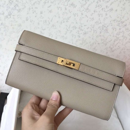 Hermes Kelly Classic Long Wallet In Grey Epsom Leather 2 Hardware Color