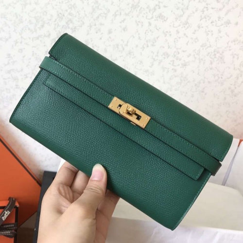 Hermes Kelly Classic Long Wallet In Green Epsom Leather 2 Hardware Color