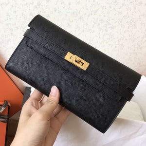 Hermes Kelly Classic Long Wallet In Black Epsom Leather 2 Hardware Color