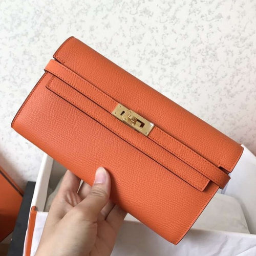 Hermes Kelly Classic Long Wallet In Orange Epsom Leather 2 Hardware Color