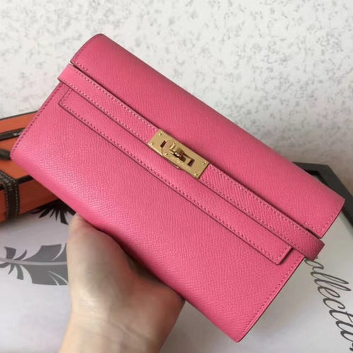 Hermes Kelly Classic Long Wallet In Pink Epsom Leather 2 Hardware Color
