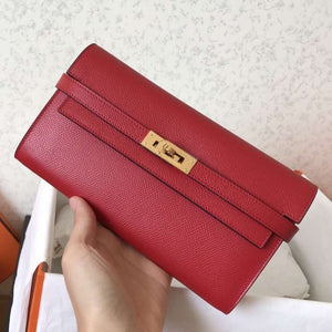 Hermes Kelly Classic Long Wallet In Red Epsom Leather 2 Hardware Color