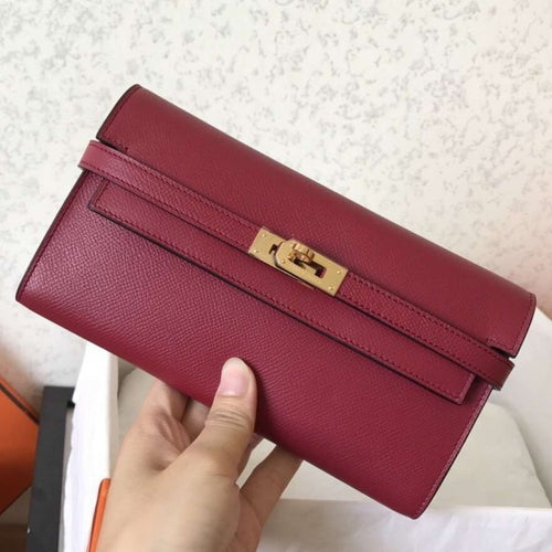 Hermes Kelly Classic Long Wallet In Burgundy Epsom Leather 2 Hardware Color