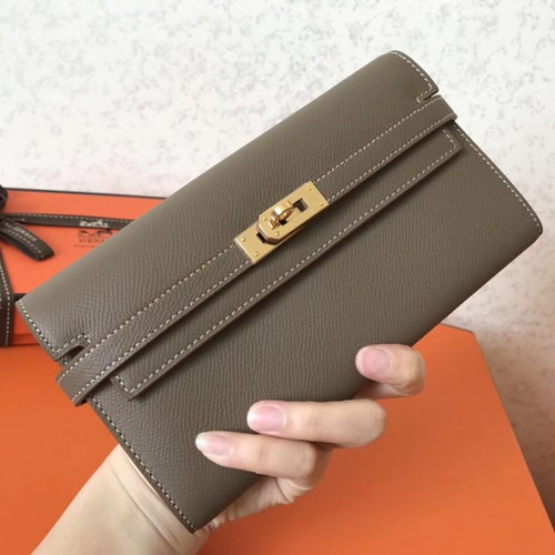 Hermes Kelly Classic Long Wallet In Taupe Epsom Leather 2 Hardware