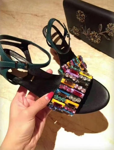 Fendi Black Leather Sculpture Sandals With Multicolor Crystals