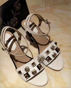 Fendi Calfskin Sculpture Sandals With Studs and Crystals 2 colors