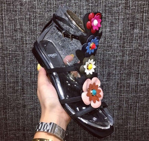 Fendi Fashion Show Mules Emabellished with Flowers