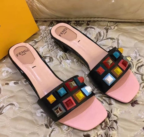 Fen Mule Sandas In leather and Multicolored Studs 4 colors
