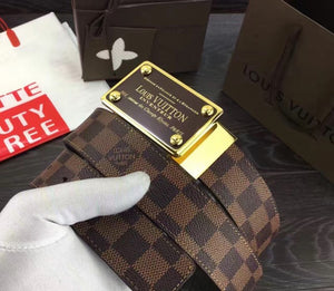 Louis Vuitton Width 3.5cm Damier Leather Belt 2 colors