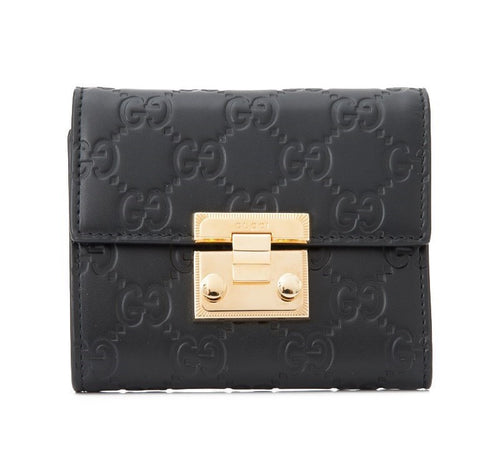 Gucci Tri-Fold Padlock Wallet 12cm Calfskin Leather 2 colors