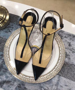 Black Nosy 100 Latte Pvc Transparent T Strap Ankle Patent Leather Heel Pumps