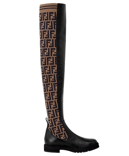 Fendi Women's Leather Thigh-high Boots Brown