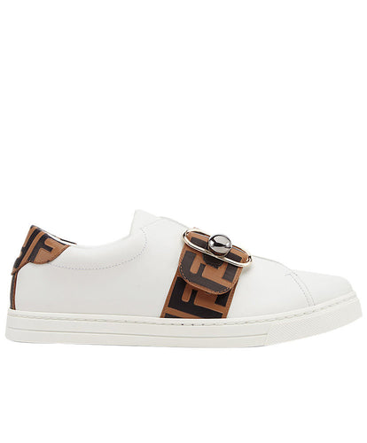 Fendi Pearland Leather Sneakers With FF Strap Coffee
