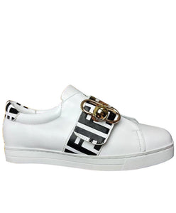 Fendi Pearland Leather Sneakers With FF Strap White