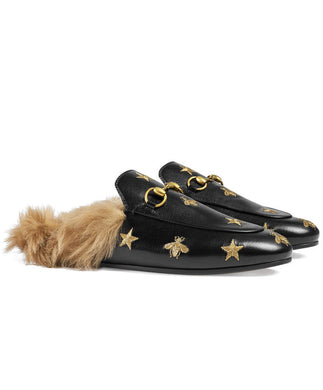 Gucci Princetown embroidered Leather Slipper Black