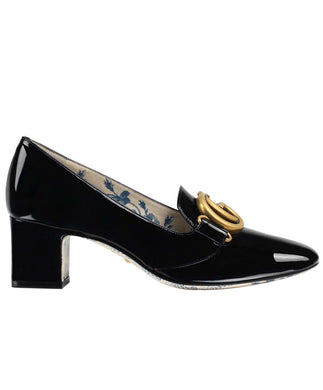 Gucci Patent Leather Mid-heel Pump With Double G Black