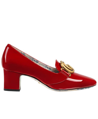 Gucci Patent Leather Mid-heel Pump With Double G Red
