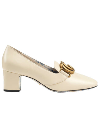 Gucci Patent Leather Mid-heel Pump With Double G White
