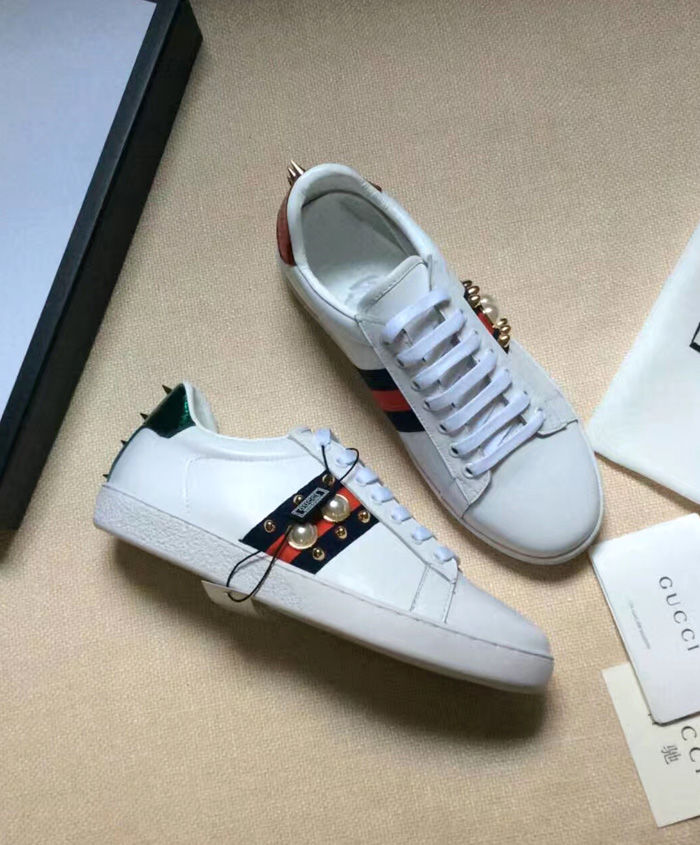 ... Gucci Ace Studded Leather Low-top Unisex Sneaker 2 colors ...