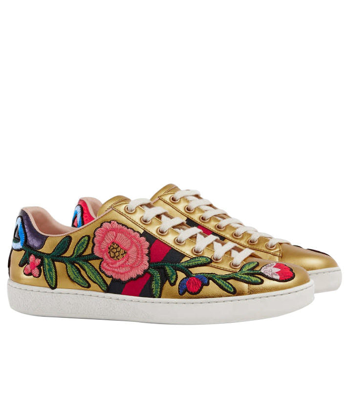 184505248 Gucci Ace embroidered low-top Unisex sneaker Golden – q8moda