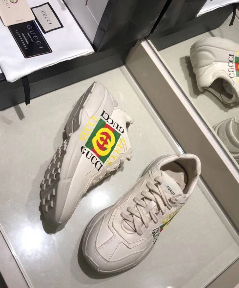 268e8b170e8 Gucci Logo Rhyton Vintage Trainer Sneakers with thick sole and a