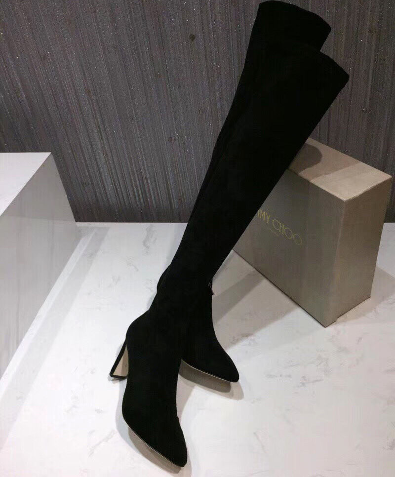 6df6319fe1c Jimmy Choo Turner Black Suede and Stretch Suede Over the Knee Boots