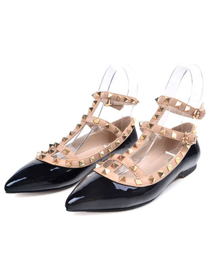 Valentino Rockstud patent-leather Point-toe Flats 5 colors