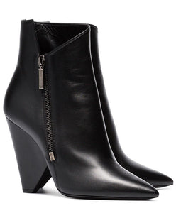 Saint Laurent Niki Wedge Bootie In Leather Black