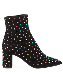 Saint Laurent Women's Betty Crystal Embellished Leather Heeled Ankle Boots In Black & Multicolor